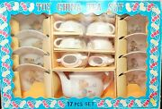 Vintage Childs Toy China 17 Piece Tea Set Japan Complete In Original Box Mccory