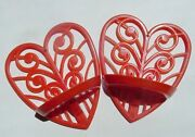 2 Vtg Lustro-ware Red Heart Shape What-not Wall Shelf Units L-90 Gc-vgc