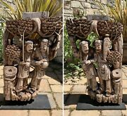 Pair Of Large Antique Chinese Ornate Carved Wood Corbels On Iron Plinths   Qing
