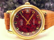 Vintage Gruen Precision Swiss Automatic Rare Red And Black Dial 1960s Watch