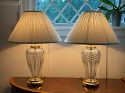 Pair 2 Waterford Crystal Belline 29 Tall Crystal Brass Table Lamps And Shades