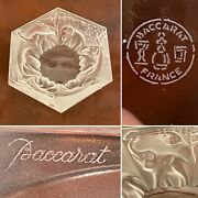 Rare Signed Baccarat Frosted Crystal Glass Elephant Trinket Candy Bowl Ashtray