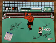Mike Tyson Charles Martinet Signed Punch Out 16x20 Photo Mario Psa/dna Authentic