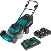 Cordless Walk Behind Push Lawn Mower Kit With 4 Batteries And Dual Charger 21 Inch