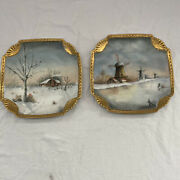 Hand Painted Collectible Plates Set Of 2 Winter Cabin Windmill Gold Antique