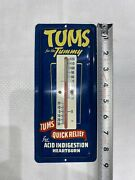 Antique Tums Metal Thermometer Old New Stock Mint Shape Awesome