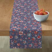 Table Runner Snowflakes Christmas Stars Red Blue Winter Snow Cotton Sateen
