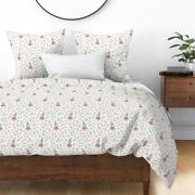 Pink Bunny Grey Woodland Rabbit Roses Dance Sateen Duvet Cover By Spoonflower