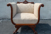 Walnut Empire Bedroom Chair Antique 19th Century Newly Upholstered And Restored