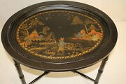 Chinese Hand Painted Black Oval Side End Coffee Table Oriental