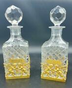 Pair Of French Ormolu Cut Crystal Decanters Whisky And Cognac