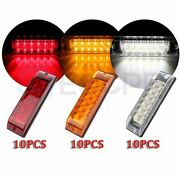 10x 12 Led 8 Inch Red Side Signal Light For Pickup Truck +10x Amber+10x White