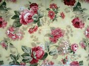 Richloom 1997 Cotton Fabric Cabbage Roses Red Pink Mustard Yellow 56 X 71