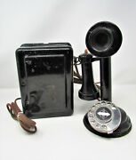 Antique Western Electric 634a Metal Candlestick Phone + Ringer Box Rotary Dial