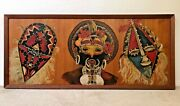 🔥 Antique Mid Century Modern Tiki Tribal African New Guinea Oil Painting - Wow