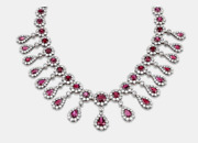Antique Ruby And Cubic Zirconia 50.00 Carats In 925 Silver Womenand039s Necklace