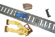 12 Gray E Track W/ 12 Wood Beams 12 Tie Downs And 12 Ratchet Straps And 12 Orings