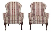 25695ecpair Baker Historic Charleston Collection Damask Upholstered Wing Chairs