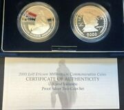 2000 Leif Ericson Two Coin Silver Dollar Proof Set W/ogp And Coa