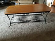 Longaberger Wrought Iron Coffee Table Stand With Warm Brown Woodcrafts Toprare