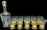 12 Venetian Gold-flecked Whiskey Tumblers And Decanter By Nason Moretti