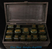Chinese Old Jasper Jade Dragon Dynasty Imperial Fifteen Seal Set Stamp Signet