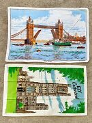 Vintage Linen Dish Towels Ely Cathedral Tower Bridge Made In Ireland Never Used