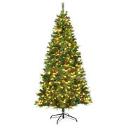 7ft Pre-lit Hinged Pe Artificial Christmas Tree W/ 350 Led Lights And Pine Cones
