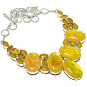 Triplet Fire Opal Yellow Sapphire 925 Sterling Silver Necklace 18