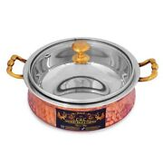 Aaa Hammered Steel Copper Handi Bowl With Glass Lid Serveware And Tableware 300 Ml