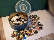 Antique Wooden Spools Vintage Buttons In Filled Cookie Tin