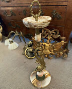 Vintage Art Deco Bronze And Onyx Ashtray Stand