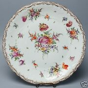 Large Vintage Hand Painted Dresden Porcelain Plate Or Charger - Flowers - Pc