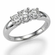 3-stone Anneau Fianandccedilailles Diamant 1 1/2 Ct Rond H/si1 950 Platine Taille 7