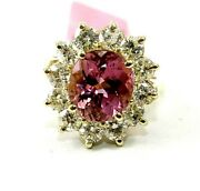 Natural Oval Tourmaline And Diamond Halo Solitaire Ring 14k Yellow Gold 6.38ct