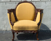 Walnut English Living Room Chair Antique 1920and039s Newly Upholstered And Restored
