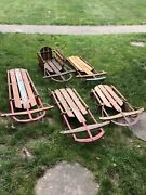 Antique Sleds Lot Of 5 Flexible Flyer Sled Vintage 44j Sears Cat And The Fiddle