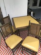 Vintage Stakmore Faux Bamboo Folding Card Table Chairs Mid Century 5 Piece Set