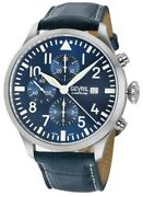 Gevril Menand039s 46111 Vaughn Swiss Sw 500 Automatic Blue Chronograph Leather Watch