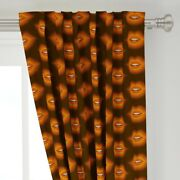 Lips Kiss Valentines Day Sweet Brown And 50 Wide Curtain Panel By Roostery