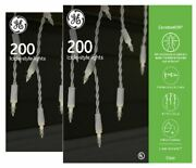 2 Boxes Ge Constant On 200 Icicle Style Lights Clear Whitewire Christmas Wedding