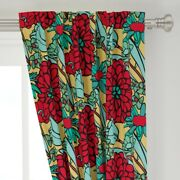 Yellow Red Butter Cream Black Floral Jumbo 50 Wide Curtain Panel By Roostery