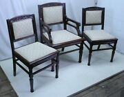 Set Of 8 East Lake Victorian American Walnut Dining Room Chairs 6 Side 2 Arm