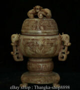 11 Museum Antique Chinese Hetian White Jade Dynasty Carved Beast Incense Burner