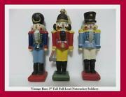 Nutcracker Soldier Figure 3 Tall Lead/pewter Rare Hard To Find Lot Of 3