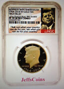2014 W Gold Kennedy Half 50andcent Anniversary Ngc Proof 70 Chicago Ana Release+box