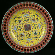 15.4qianlong Marked Old Yellow Colour Enamel Porcelain Palace Flower Plate Tray