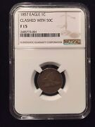 1857 Snow 9 Flying Eagle Cent Clashed Seated Half Dollar Ngc Fine 15 Large Penny