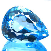 36.00cts Huge Flawless Natural Best 5a+ Blue Topaz Real Sparkling Pear Gemstone