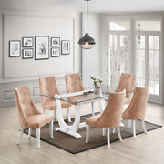 Kings Brand - Elmer 7 Piece Dining Set, Table And 6 Chairs, White/light Brown